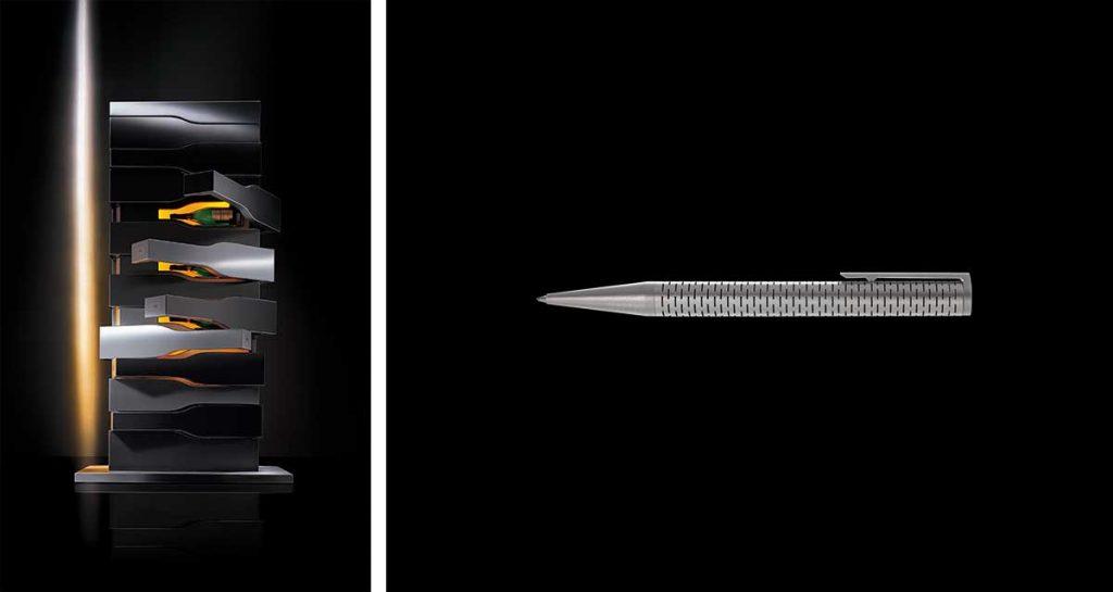 links: Porsche Design für Veuve Cliquot | rechts: Laserflex Ballpointpen