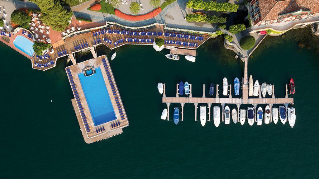Luftansicht der Villa d'Este am Comer See