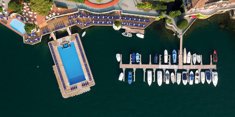 Luftansicht des Luxushotels Villa d'Este am Comer See
