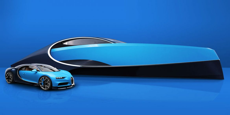 Blauer Bugatti Chiron vor blauem Bugatti Niniette