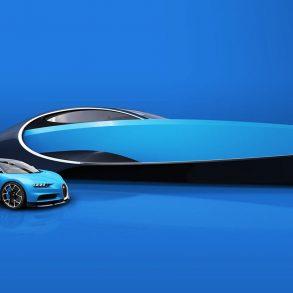 Blauer Sportwagen Bugatti Chiron vor blauer Yacht Bugatti Niniette