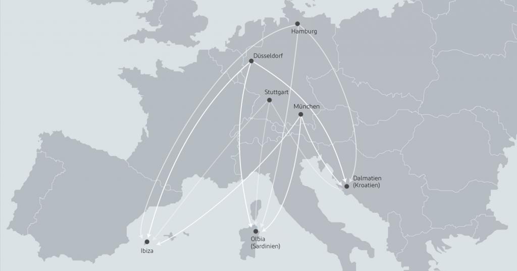 Sie können Ihre Reise mit dem Privatjet nach Ibiza, Sardinien und Kroatien wahlweise in München, Stuttgart, Hamburg oder Düsseldorf starten