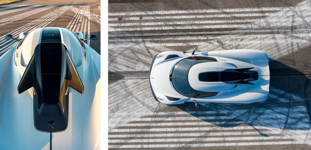 Koenigsegg Jesko von oben auf Rennstrecke